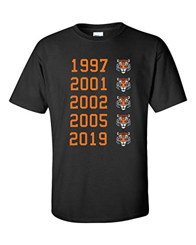 - Tiger Head Master Championships Graphic Tee, Tiger Woods 2019 Masters Champion T Shirt, 1997, 2001, 2002, 2005, 2019 (Large, Black)