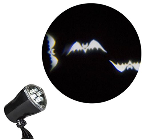 Halloween Projector Lights - Ghosts Witches Bats Spiders Skeletons Projection Chasing Spotlight (Bats)