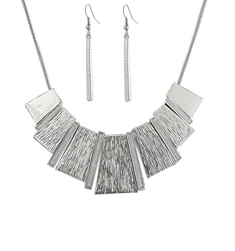 HSWE Statement Bib Collar Necklace for Women Enamel Collars Chunky Choker Necklace Bar Drop Earrings Set (Silver) (Bib Drop Necklace)