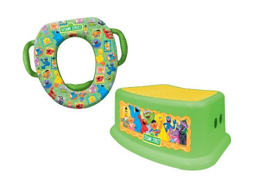 Sesame Street'Framed Friends' Potty Training Combo Kit, Contour Step Stool & Soft Potty, Green Ginsey 69923