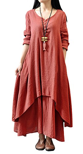 R.Vivimos Women Vintage Long Cotton Linen Loose Dress 3XL Red