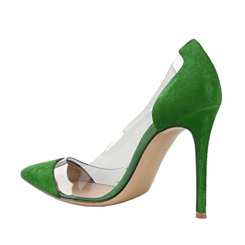 Fsj Dames Elegante Stiletto Clear Pumps Hoge Hakken Slip Op Party Trouwjurk Schoenen Maat 4-15 Us Groen