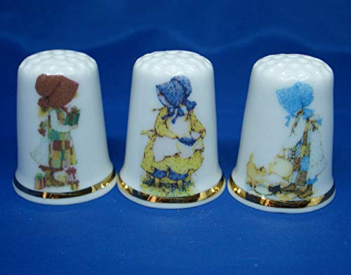 Birchcroft Porcelain China Collectable - Set of Three Thimbles - Hollie Hobby