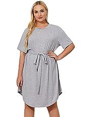 Milumia Women's Plus Size Round Neck Front Short Sleeve Belted Shirt Dress