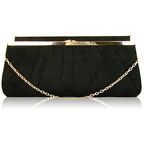 London Baguette Black Small Suede Vintage Bridal Ladies Designer Gold Clutch Prom with Girl Purse Evening Shape chain Bridesmaid Women Detachable Xardi strap Handheld Wedding d4Ydq