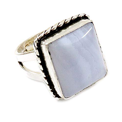 GoyalCrafts Natural Blue Lace Agate Gemstone Ring US-7 Silver Overlay Fashion Jewelry GRG-14