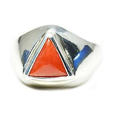 Jewelryonclick 3 Carat Triangle Natural Red Coral Gemstone 925 Sterling Silver