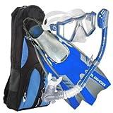 U.S. Divers Lux Platinum Snorkeling Set - Panoramic View Mask, Pivot Fins, Dry Top Snorkel + Gear Bag, Electric Blue S/M