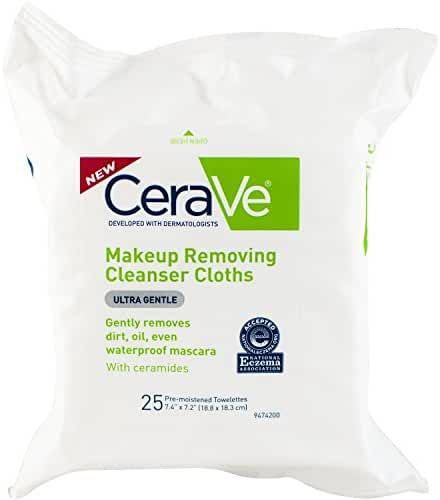 CeraVe Makeup Removing Cleanser Cloths, 25 Count