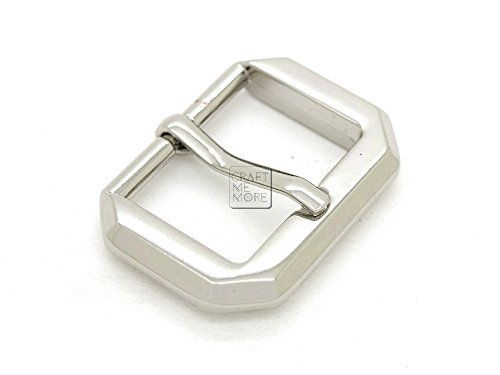 CRAFTMEmore Octagon Belt Buckle Single Prong Strap Buckles Findings Purse Making Accessories 3 Sizes Pack of 4 (1 Inch, Silver)