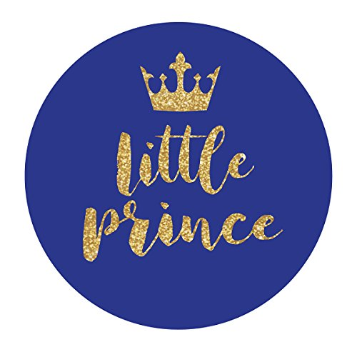 MAGJUCHE Royal Blue Little Prince Crown Stickers, Gold Glitter Boy Baby Shower or Birthday Party Circle Sticker Labels, 2 Inch Round, 40-Pack