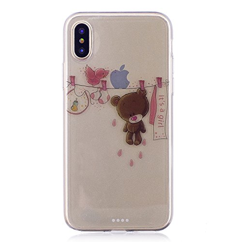 iPhone X Coque , Leiai Mode Ours Ultra-mince Transparent Silicone Doux TPU Housse Gel Etui Case Cover pour Apple iPhone X