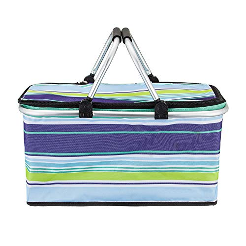 Large Size Insulated Picnic Basket - Strong Aluminum Frame - Waterproof Lining - Collapsible Design for Easy Storage - Take it Camping, Picnicking, Lake Trips, or Family Vacations - Keeps Food Cold
