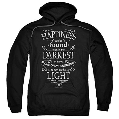 Popfunk Harry Potter Dumbledore Happiness Quote Pullover Hoodie Sweatshirt & Stickers (Large) Black