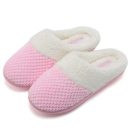 Fanture Women's Comfort Coral Fleece Memory Foam Slippers Plush Lining Slip-on Clog House Shoes Indoor & Outdoor-U418WMT004-pink01-F-42-43