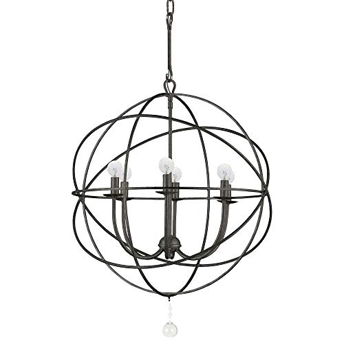 - Crystorama 9226-EB Transitional Six Light Chandeliers from Solaris collection in Bronze/Darkfinish,