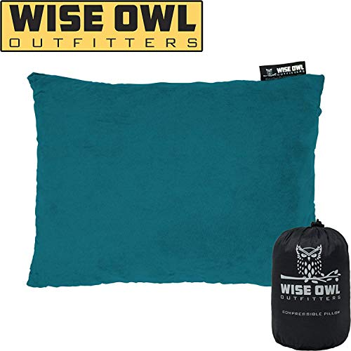 Wise Owl Outfitters Camping Pillow Compressible Foam Pillows – Use When Sleeping in Car, Plane Travel, Hammock Bed & Camp – Adults & Kids - Compact Small & Large Size - Portable Bag - LG GRN