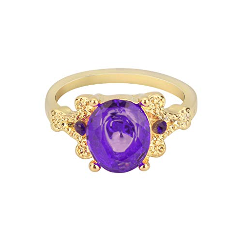 (2019 Women's Jewelry Yellow Gold Filled Round Purple Sapphire Ring Gift Cocktail Party Rings Wedding Bands for Women (7))