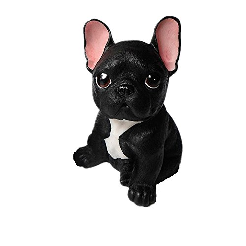 French Bulldog Decorative Figures, Kimkoala 6Inch Cute Resin Sitting Dog Figurine Sculpture Toy For Living Room Cabinet Desk Ornaments Decoration And For Kids Friends Gift (Black)