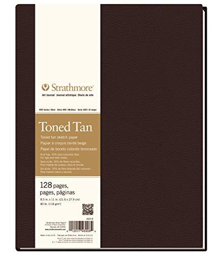 Strathmore (469-8 STR-469-8 128 Sheet No 80 Toned Tan Art Journal, 8.5 by 11