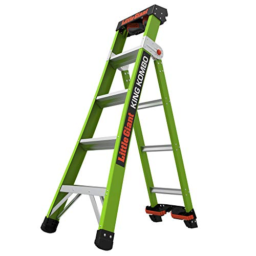 Little-Giant-Ladders-King-Kombo-Professional-5-Ft-A-Frame-8-Ft-Extension-with-Quad-Pod-Fiberglass-Type-1AA-375-lbs-Weight-Rating-13580-031