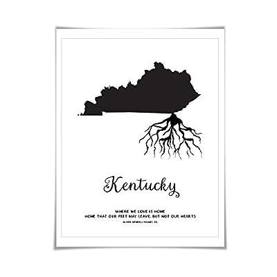 Kentucky Art Print. 5 Sizes/60 Colours. State Map Poster. Kentucky Map. Custom State Art