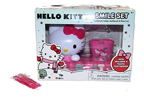 Hello Kitty Smile Gift set, Toothbrush, Holder, Rinse Cup and Children's Flossers