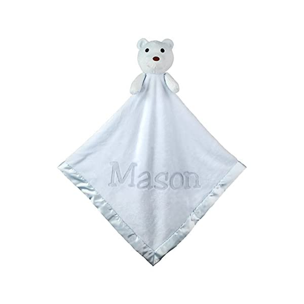 Large Ultra Plush Personalized Teddy Bear Baby Blanket Gifts(Blue), 40×40 Inch, Boy or Girl