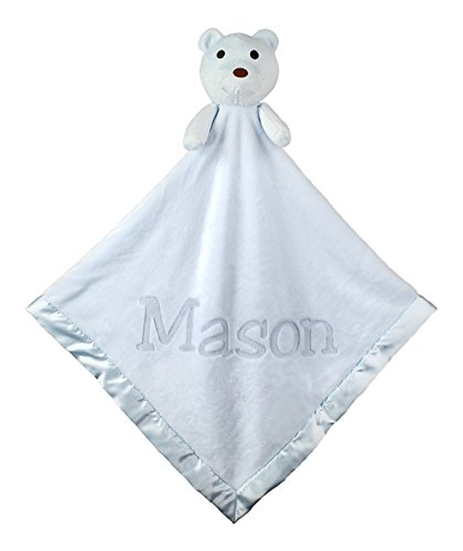 Large Ultra Plush Personalized Teddy Bear Baby Blanket Gifts(Blue), 40x40 Inch, Boy or Girl
