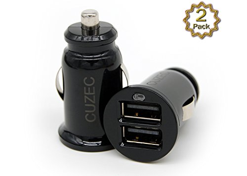 Car Charger CUZEC (2 PACK) Portable Dual Port USB Car Charger Cigarette Lighter Adapter For IPhone IPad Samsung & Other