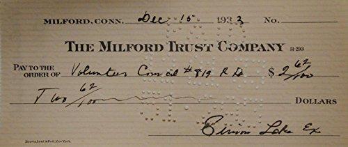 Simon Lake Hand Signed Autographed Personal Check $2.62