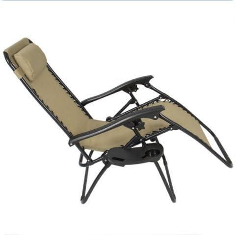 Z ZTDM 2 Pack Khaki Adjustable Folding Zero Gravity Recliner Chairs Lounge Deck Chair
