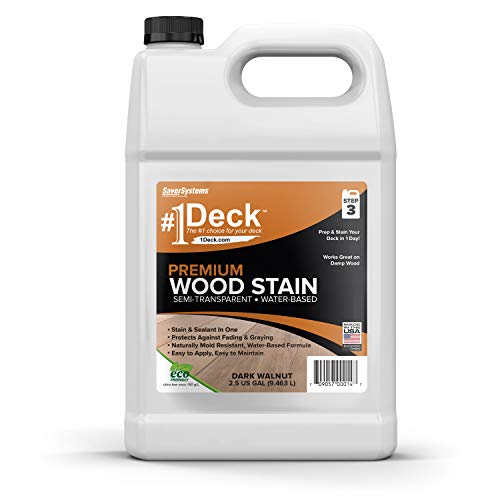 #1 Deck Stain - Premium Semi-Transparent Wood Stain for Decks, Fences, Siding - 1 Gallon (Dark Walnut)