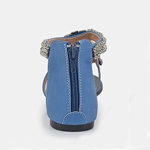 Flats Avec Perlée Boucle Chaussures Femme Toe Bleu Sandales Clip Bohême Herringbone XXgWPq