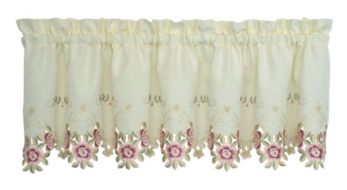 (Today's Curtain Verona Reverse Embroidery Valance, 14-Inch, Ecru/Rose)