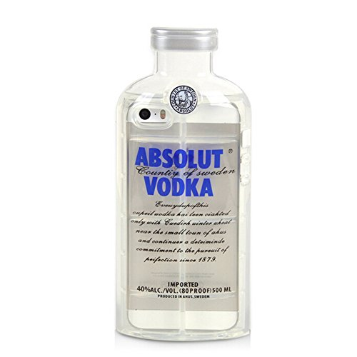 [DStores iPhone 5 Blue TPU Case,iPhone 5s Case,For iPhone 5 5s SE Transparent Premium Flexible Vodka Bottle Cartoon Silicone Cute 3D Feeding Soft TPU Cover Case] (Premium Vodka)
