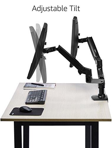 AmazonBasics Premium Dual Dell Monitor Stand - Lift Engine Arm Mount, Aluminum