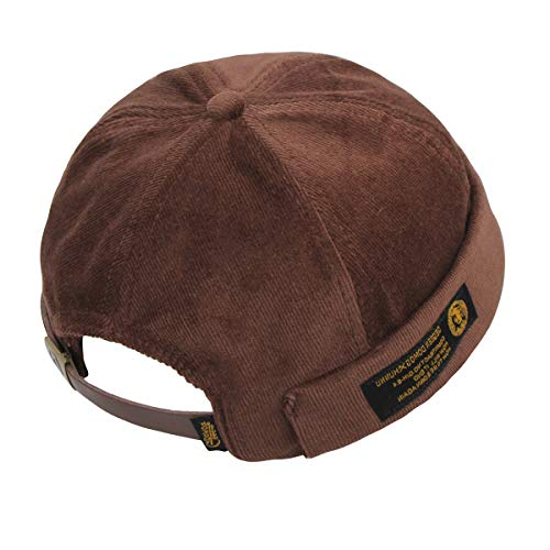 Men Women Vintage Style Brimless Docker Cap Solid Color Adjustable Leather Buckle Skullcap Beanie Cuffed Hat (Brown) ()
