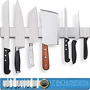 Fridge Applicable 17 Inch Stainless Steel Magnetic Knife Holder – Professional Double Sided Knife Strip For Refrigerator - Knife Rack/Knife Bar With ...