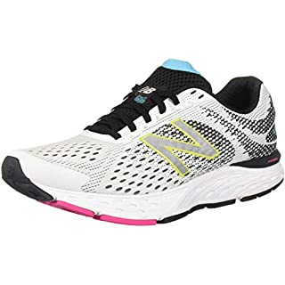 New Balance Women's 680 V6 Running Shoe, White/Black/Bayside, 5 W US