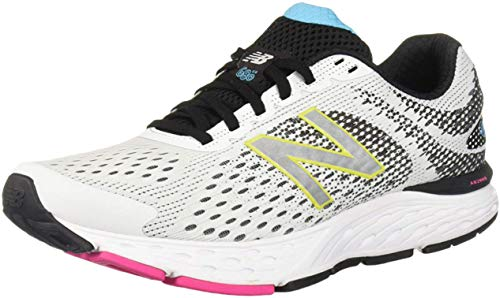 New Balance Women's 680v6 Cushioning Running Shoe, White/Black, 7 W US