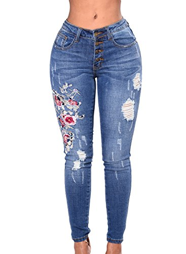 Cotton Embroidered Jeans (GOSOPIN High Waist Rose Embroidered Destroyed Ripped Jeans Distressed Denim Pants XX-Large Blue)