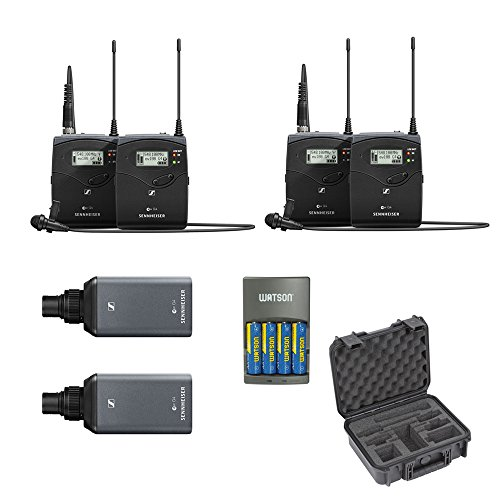 (Sennheiser ew 100 ENG G4 Wireless Microphone Combo System A: 516 to 558 MHz (2-Pack) with iSeries Waterproof Case for 2 Sennheiser ENG Systems & 4-Hour Rapid Charger)