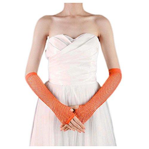 Vrouwen Visnet Handschoenen, Inkach Punk Goth Lady Disco Dance Kostuum Feesthandschoenen Lace Mesh Fishnet Handschoenen Oranje