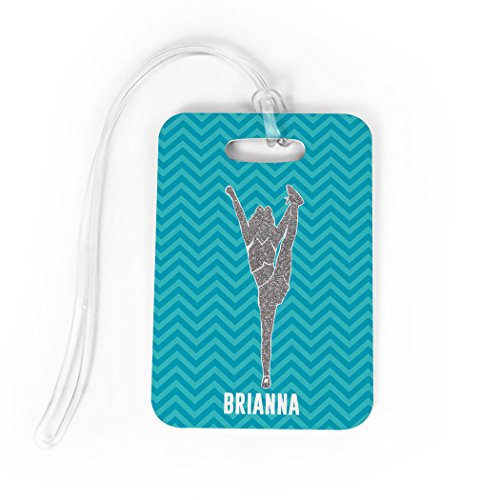 Megaphone Bag Tag - Cheerleading Luggage & Bag Tag   Personalized Faux Glitter Chevron Pattern   Standard Lines on Back   MEDIUM   TEAL