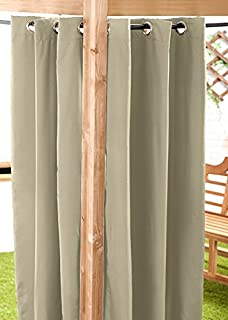 Stone Water Resistant Ready Made Outdoor Eyelet Curtain 55'x72' Gazebo Summer House