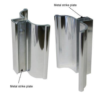 Bright Chrome Frameless Shower Door Handle With Metal Strike