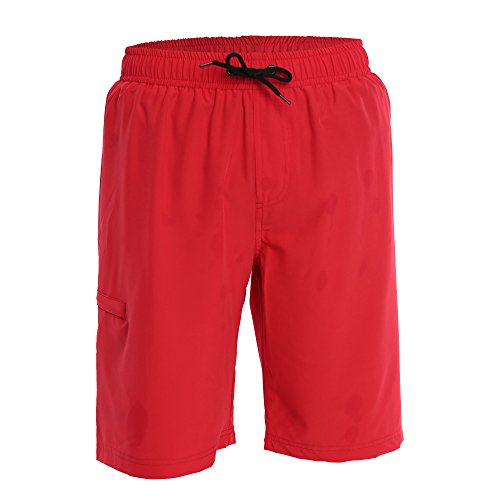 Fort Isle Men's Boardshorts - XL - Red - Perfect Swimsuit, Swim Trunks, Board Shorts, Workout or Athletic Shorts For The Beach, Lifting, Running, Surfing, Pool, Gym. For Adults, Men's - Men Shorts For Pool