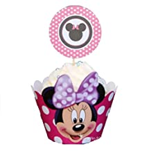Piggy2gether - Minnie mouse cupcake wrappers with Micky cup cake toppers picks, 60 pieces / lot, party decoration by Piggy2gether