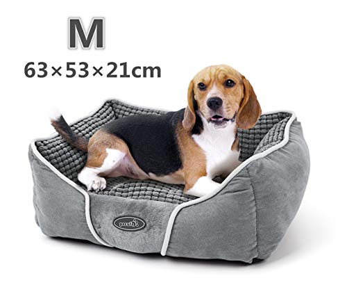 Dog Bed Cat Pet Bed Machine Washable Luxury Rectangle Bed with Soft Detachable Cushion for Small Medium Pet
